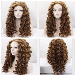 Wholesale Two Tone Blonde Wig - Heat Resistant Fiber Hair Afro Kinky Curly Two Tone Ombre Brown Synthetic Lace Front Long Fluffy Wigs for African American Women 26 inch