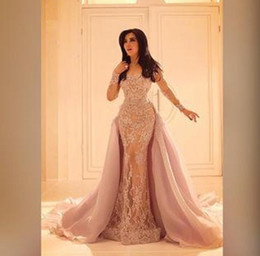 Wholesale Long Slit Skirts - 2017 Long Sleeved Lace Overskirt Evening Dresses Mermaid Illusion Slit Skirt and Sheer Full Sleeves Formal Party Gowns Prom Dresses