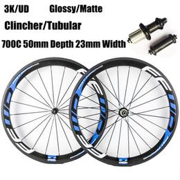 Wholesale carbon wheels ffwd - Powerway R36 Hubs 50mm Depth 23mm Width Fast Forward FFWD Blue Decal Carbon Wheels Clincher Tubular 3K Matt Full Carbon Bicycle Wheelset