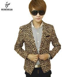 Wholesale Suits Blazer Outerwear Coats - Wholesale- Mens Slim Fit Blazer Leopard Printed Suit Jacket Stage Costumes for Singers Male Outerwear Men's Coat Cclothing 2017