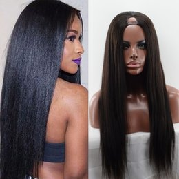 Wholesale Remy U Part Wig - Yaki Straight U Part Wigs Natural Part with Natural Hairline for Black Women Indian Remy Hair 1x2 Opening Size Human Hair Long Straight