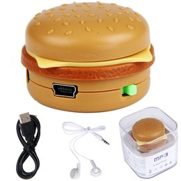 Wholesale Hamburger Mp3 - Wholesale- Hot Sale Hamburger MP3 Player reproductor de musica MP3 +Mini USB Charging Cable +Earphone Support TF Card #UO