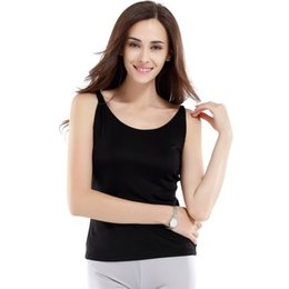 Wholesale Plain White Underwear - 100% Silk Knitted Camisole Women Comfortable Silk Tank Top Women Underwear Plain Color Thin Strape Style New Fashion