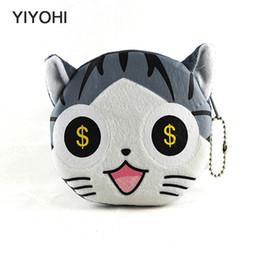 Wholesale Wholesale Novelty Coin Pouch - Wholesale- 11cm*10cmCute Style Novelty Cat Zipper Plush Coin Purse Kawaii Children Bag Women Wallets Mini Change Pouch Bolsa