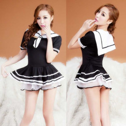 Wholesale Lingerie Sailor Costume - Free shipping new sexy lingerie sexy underwear female police uniforms temptation extremely sexy silk socks sailors students nightclubs sm em