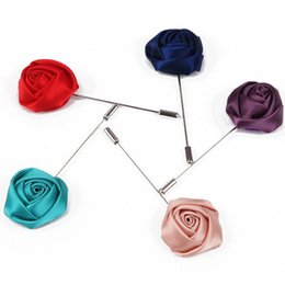 Wholesale Plastic Flowers For Sale - Wholesale- Hot Sale 2015 Fashion Cheap Handmade Cloth Silk Silver Fabric Rose Flower Brooches Pin for Women and Men Jewelry Free Shipping