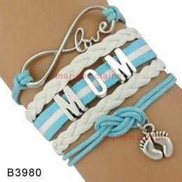 Wholesale Shower Feet - (10 Pieces Lot) Infinity Love Mom Grandma Dad Baby Shower Bracelets Baby Feet Charm Wrap Bracelets Leather Mother Child Bracelet
