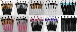 Wholesale Eyeshadow Logo - New 10pcs Kabuki Makeup Brushes SGM 10pcs Professional Cosmetic Brush Kit Nylon Hair Wood Handle Eyeshadow Foundation Tools No LOGO