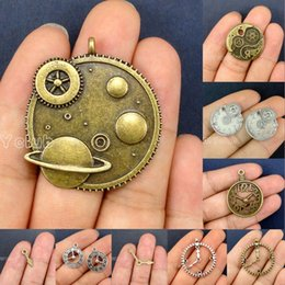 Wholesale Large Clock Wholesale - 40pcs-Galaxy Antique Silver Bronze Large Planet Clock Gears Watch Face Clock Gears Charms Pendants Lovely Connector DIY Jewelry Making