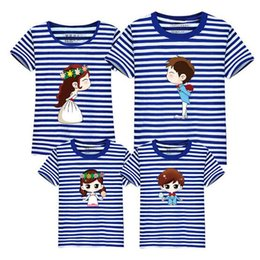 Wholesale Couples Summer Wear - New Style Family Matching Outfits Family Wear Summer Casual Tees Four Couples Leisure Cartoon Short Sleeve T-Shirt