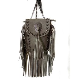 Wholesale Small Mini Cell - Wholesale-2016 women black tassel bag classic flap bag PU leather small shoulder crossbody bags for women Rivets Skull clutch handbag