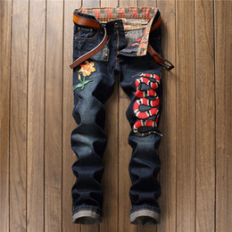 Wholesale Hip Hop Blue Jeans - NEW Fashion Men Ripped Skinny Personality embroidery snake Jeans Motorcycle Moto Biker Causal Mens Denim Pants Hip Hop Men Jeans