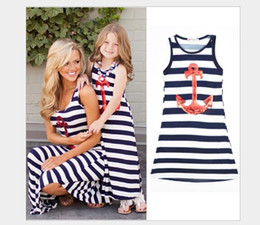 Wholesale Look Casual Girl - Cheap Discount Summer Sleeveless Family Look Kids Girls Dresses Mother And Daughter Striped Dress Anchor Matching Family Clothes Outfits