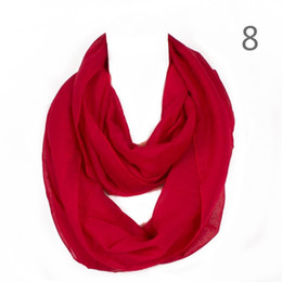 Wholesale Solid Color Polyester Scarves - Fashion Solid Color Women Ring Scarf Sweet Lovely Color Loop Foulard Femme Hijab Infinity Echarpe Shawls RO1750314