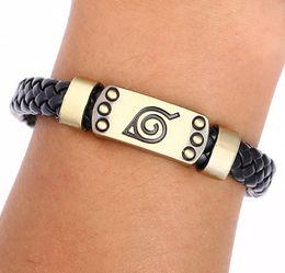 Wholesale Bracelet Anime - Julie Hot Anime Naruto Braid Leather Bracelets Bangles Akatsuki Itachi Konoha Logo Alloy Bracelet Wristband Cosplay Jewelry
