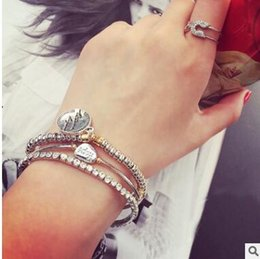 Wholesale Double Strand Set - Retro diamond multi-layer bracelets suits double bangles two styles