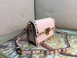 Wholesale Cheap Colorful Handbags - women red small handbag Fashion bags cheap crossboy bag Fashion colorful stud rolling small cross body shoulder bag