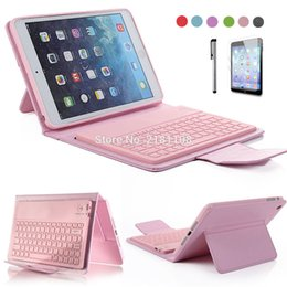Wholesale Waterproof Wireless Keyboard - Wholesale-For iPad Mini Retina 2 3 4 PU Leather Stand Case Cover With Wireless Bluetooth Keyboard