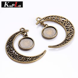 Wholesale Metal Jewelry Cabochon Blanks - Kupla Vintage Metal Moon 12mm Double Sided Round Pendant Cabochon DIY Jewelry Blank Pendant Cabochon Settings 10pcs C5823