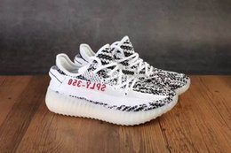 Wholesale Girls Lace - Free Shipping Kids Boost 350 V2 Zebra Core Black Red White Shoes,Boys Girls Sply 350 v2 zebra Size 28-35 Come With Box