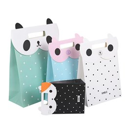 Wholesale Cute Paper Bags - Kraft Paper Bag Fashion Cartoon Cute Animal Paste Clamshell Gift Bag 3 Sizes 4 Colors To Choose Paper Bags With Handles