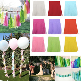 Wholesale Tissue Paper Garland Wholesale - Wholesale- 5Pcs Tissue Paper Tassels Garland Wedding Birthday Party Decor Tassels Bunting Pom 0019