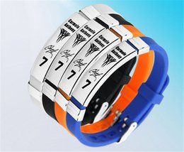 Wholesale Wristband For Balance - Fashion jewelry basketballl sport silicoen balance wristband energy bracelet power bangle with Stainless steel buckle for anthony sinature