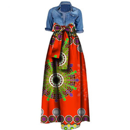 Wholesale Womens Long Maxi Dresses - Womens African Print Dashiki Skirts Long Maxi A Line Skirt Ball Gown Maxi Dresses 20 Colour S-5XL