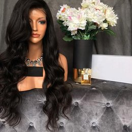 unprocessed human hair natural wavy Promo Codes - Brazilian Virgin Hair Wavy Full Lace Human Hair Wigs 150% Density With Baby Hair Natural Hairline Lace Front Wigs Unprocessed Glueless