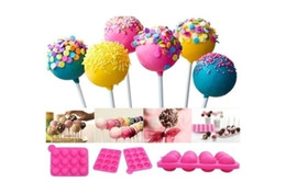 Wholesale Tools For Cookies - Silicone Mould for Cakes Tools Lollipop Pop 12 Holes Mould Silicone Round Shape Party Cake Cookie Candy Chocolate Maker Baking
