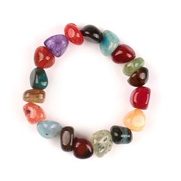 Wholesale Luck Stones Wholesale - New 10-12mm Cracked Agate Bracelets Irregular Shape Natural Stone Colorful Beads Bracelet 7 Chakras Genston Good Luck Jewelry A396