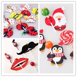 Wholesale Ladybug Favor - Wholesale-50Pcs Bee Butterfly Ladybug Santa Penguin Mustache Big Lips Printed Lollipop Decorative Card Christmas Birthday Candy Stick Card