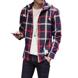 Wholesale Hooded Plaid Shirt Men - Wholesale- New Plus Size Classic Hooded Plaid Men Boy Shirt Long Sleeve Cotton Linen Blouse M-5XL