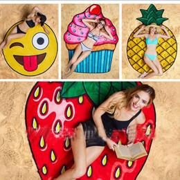 Couverture de fraise en Ligne-Robe à serviette de bain en polyester ronde en polyester Serviette de yoga Crème Glacé à la fraise Smiley Emoji Serviette à la melon à tarte aux ananas