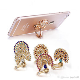 Wholesale Diamond Ipad Covers - Diamond Grip Stand Cell Phone Ring Holder iPhone Samsung iPad and Case Cover Universal Hook Holder Luxury With Retail Package