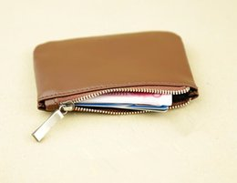 Wholesale Wholesale Leather Coin Pouches - Wholesale- 2017 Hot selling Genuine Leather new fashion purse coin pouch coin purse keychain wallet free shipping