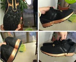 Wholesale New Flux - 2017 New arrival BLACK GOLD ZX Flux Men's women's Shoes free shipping size 36-44th