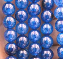 "Wholesale Dragon Veins Agate Loose Bead - new 8mm blue Dragon Veins Agate Round Gemstone Loose Beads 15"" AAA"
