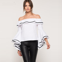Wholesale Elegant Ruffled Blouses - Black Ruffles Women Blouses 2017 Spring Summer Style Off Shoulder Long Sleeve Patchwork Loose Shirts Party Cocktail Elegant Tops