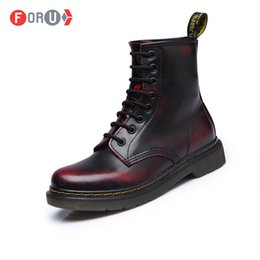 Wholesale Martin Boots Motorcycle - Wholesale-Top quality Dr Genuine Leather Men Women Martin Boots High Top Motorcycle Autumn Winter shoes Lover snow Boots