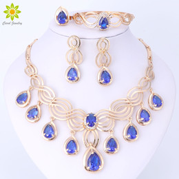 Wholesale Luxury Engagement Dresses - Luxury Dubai Jewelry Sets For Women 18K Gold Plated Crystal Necklace Earrings Gift Party Dress Accessories