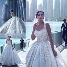 Wholesale Say Crystals - Said Mhamad Amazing Wedding Dresses High Quality Appliques Beading Bridal Gowns Sexy Open Back Chapel Train Custom Made Wedding Vestidos