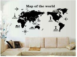 Wholesale Personality Pieces - PVC 120x60cm Creative personality world map pattern wall stickers living room bedroom TV sofa background decoration stickers