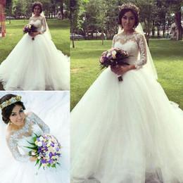Wholesale Hot Arabic Wedding Dresses - Hot Scoop Neck Long Sleeve Arabic Wedding Dresses Lace Up Back Appliques Ball Gown Bridal Wedding Gowns Hochzeitskleid Robe De Mariee