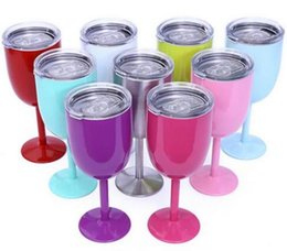 Wholesale Double Wall Tumblers - ship by 1days 10oz Stainless Steel Wine Glasses Double Wall Insulated Metal Goblet With Lids 10oz Tumbler Red Wine cups 9color