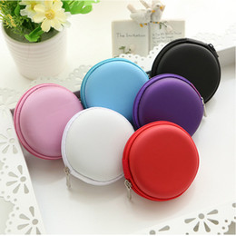 Wholesale Wholesale Earbuds Free Shipping - Mini Zipper Hard Headphone Case PU Leather Earphone Bag Protective Usb Cable Organizer Portable Earbuds Pouch Box free shipping