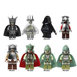 Wholesale Toy Soldiers Buildings - DHL 60Set Building Blocks Lord of the Rings Figures Mordor Orc Witch-king Uruk Hai RingWraith Soldier of the Dead Toy PG8036