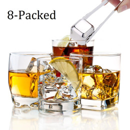 Wholesale Wine Whiskey Accessories - 8-Packed stainless steel whiskey stone ice cubes chillers for whiskey wine accessories barware portable bar tools party supplies