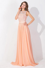 Wholesale Simple Strapped Prom Dress - Peach Pink Long Chiffon Cheap Prom Dresses 2017 Lace Real Image Backless Sheer Long Evening Gowns In Stock Bridesmaid Dress