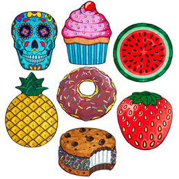 Wholesale food prints - 100% Polyester Donuts Beach Towel Blanket Watermelon Printing Food Stylish Throw Picnic Mat Yoga Mat Table Cloth Swimwear Cover up